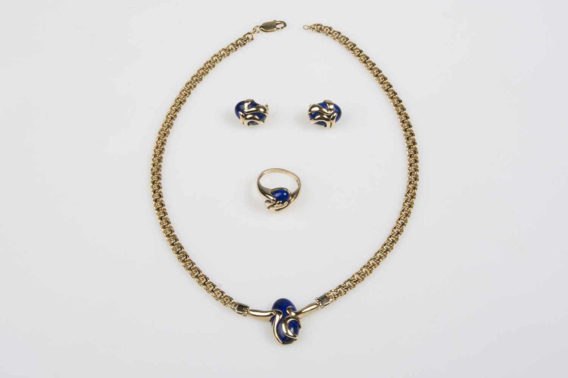 Los 25 - Damenschmuckgarnitur Gold 585, mit Lapis Lazuli, bestehend aus: 1 Collier , Länge ca. 50 cm, 1