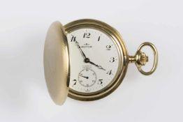Herren-Taschenuhr Gold 585, Royce, Springdeckel, kleine vertiefte Sekunde,moosguillochiertes