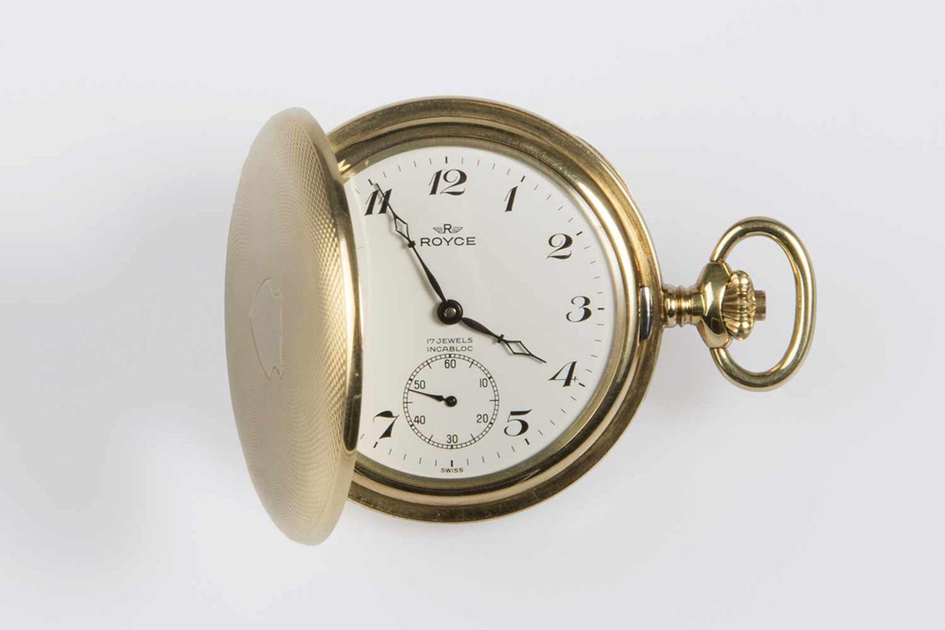 Los 39 - Herren-Taschenuhr Gold 585, Royce, Springdeckel, kleine vertiefte Sekunde,moosguillochiertes