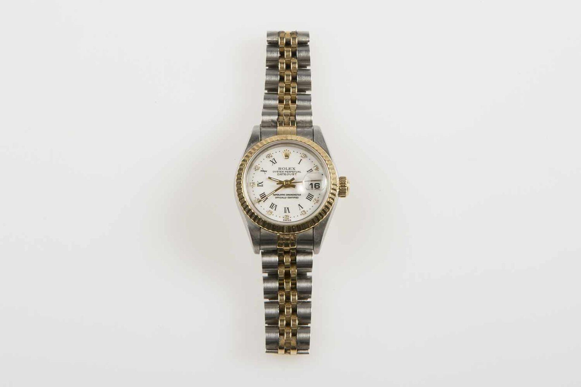 Los 35 - Damenarmbanduhr Rolex Oyster Modell Datejust Perpedual, weißes Zifferblatt mit röm. Zahlen und