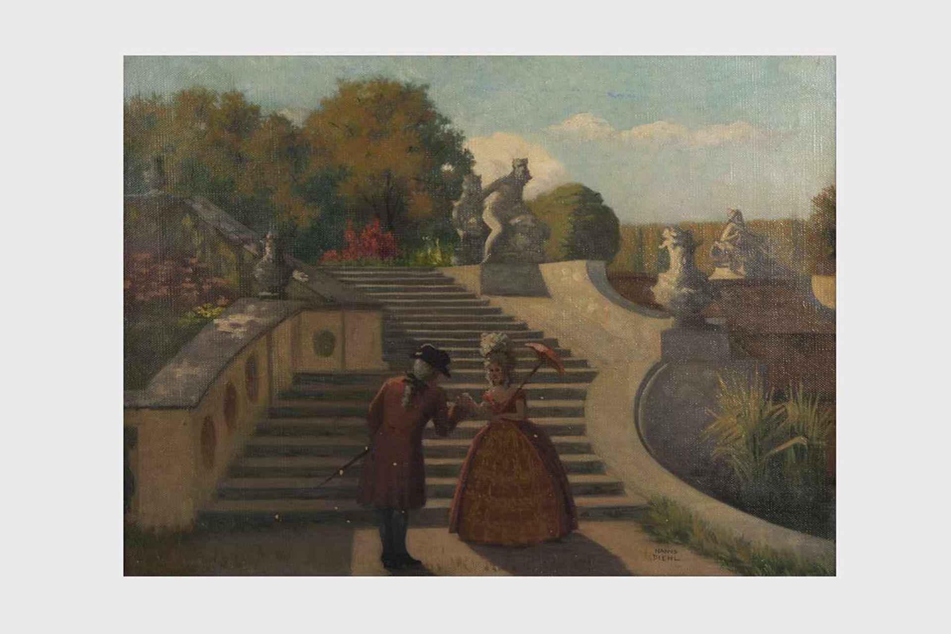 Los 7 - Hanns Diehl (Pirmasens Rheinpfalz 1877-1946 Wien) Schlosspark, signiert Hanns Diehl, Öl auf