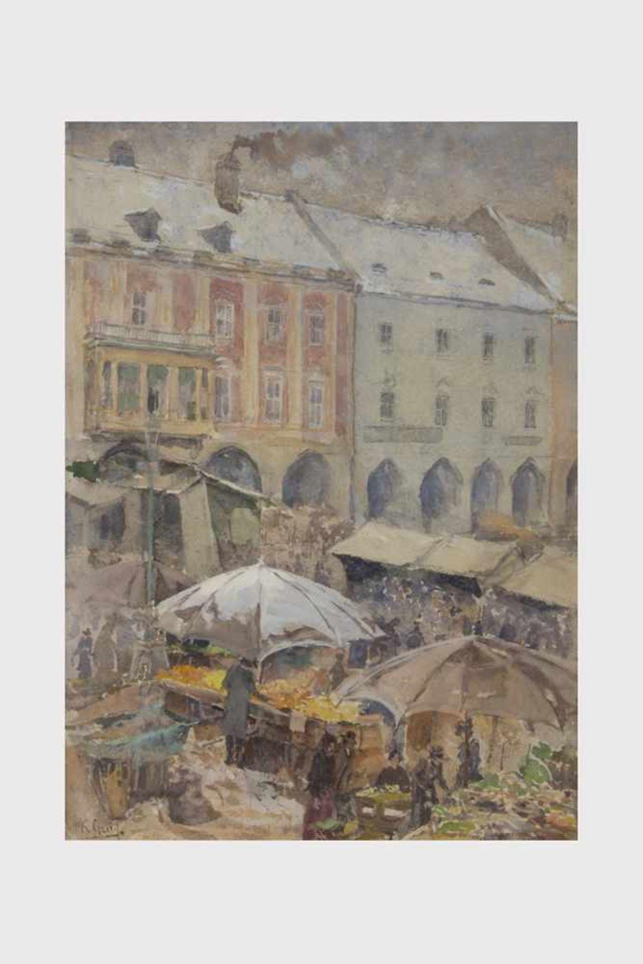 Los 12 - Karl Graf, (1859-1925), Marktplatz Wiener Neustadt, Aquarell, signiert K. Graf, 37,5x26,5, in