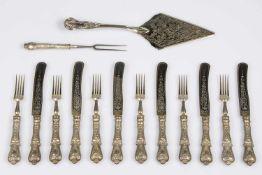 Fischbesteck Silberhefte 800, österr. ungarische Amtspunze 1872-1922, bestehend aus: 6