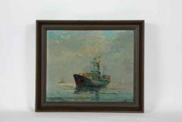 Künstler 1.Hälfte 20.Jh. Kriegsschiff, Öl auf Hartfaserplatte, monogrammiert KM, datiert 1943,