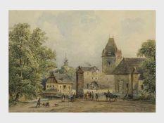 Ludwig Czerny (Wien 1821-1889) Wiener Neustadt, Aquarell, signiert L.Czerny, 16x23,5cm, verglast,