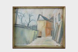 Josef Dobrowsky (1889 Karlsbad-1964 Tullnerbach) Häuser, Pastellkreide auf Papier, signiert J.