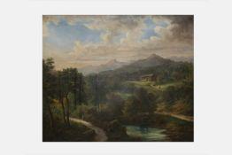 Julius Abbiati (Landschaftsmaler in Wien um 1840) Landschaft, signiert und datiert 1875, Öl auf