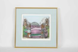 Wolfgang Hutter (Wien 1928-2014) ohne Titel, colorierte Radierung, handsigniert und datiert Hutter