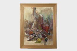 Michael Haas Wr.Neustädter Künstler, Stillleben, Öl/Pastell auf Platte, signiert Michael Haas,