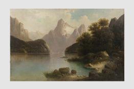 Künstler Anfang 20.Jh, Landschaftsdarstellung mit See und Berge, Öl auf Leinwand, 68x105 cm, o.