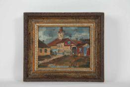 Libal Frantisek (Czech 1896-1974) Dorfkirche, Öl auf Karton, signiert, 18x22cm, gerahmt