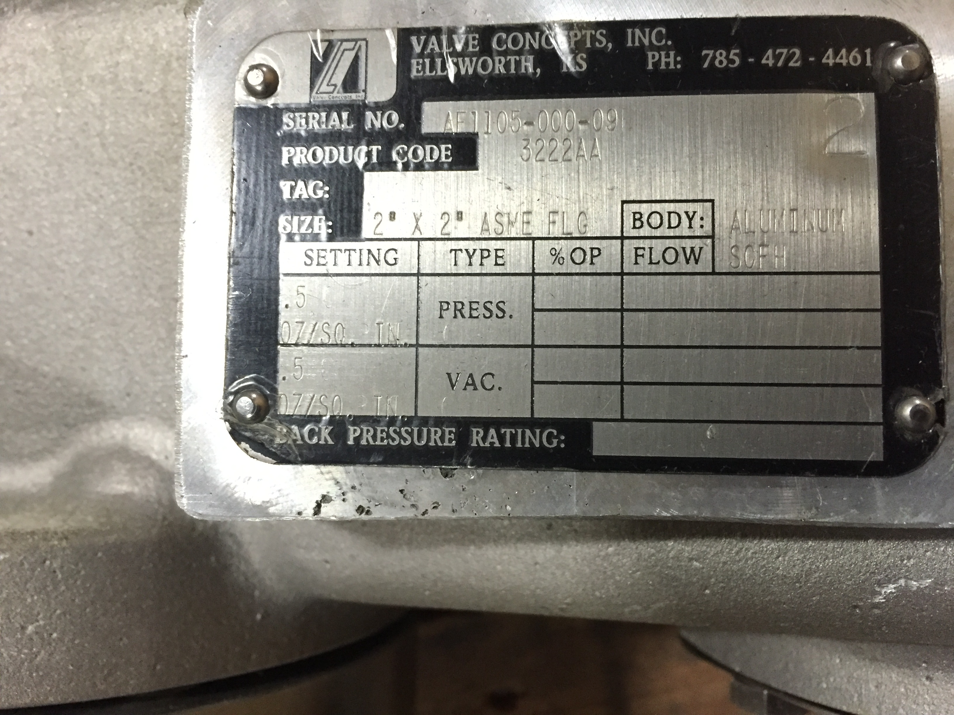"""Lot 44 - Valve Concepts inc.3222AA,2'x2"""" ASME FLANGE FLOW SCPH, SN:AE1105-000-09 :equipment located at"""