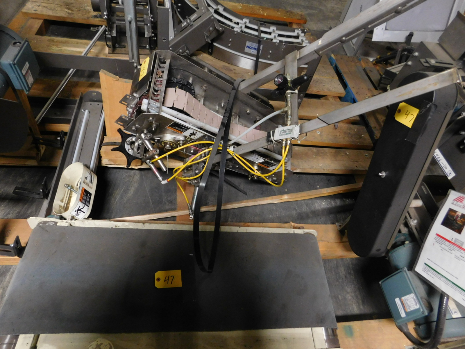 Lot 47 - Nercon Motorized lot of Conveyor' Stainless Steel construction parts :equipment located at Clark