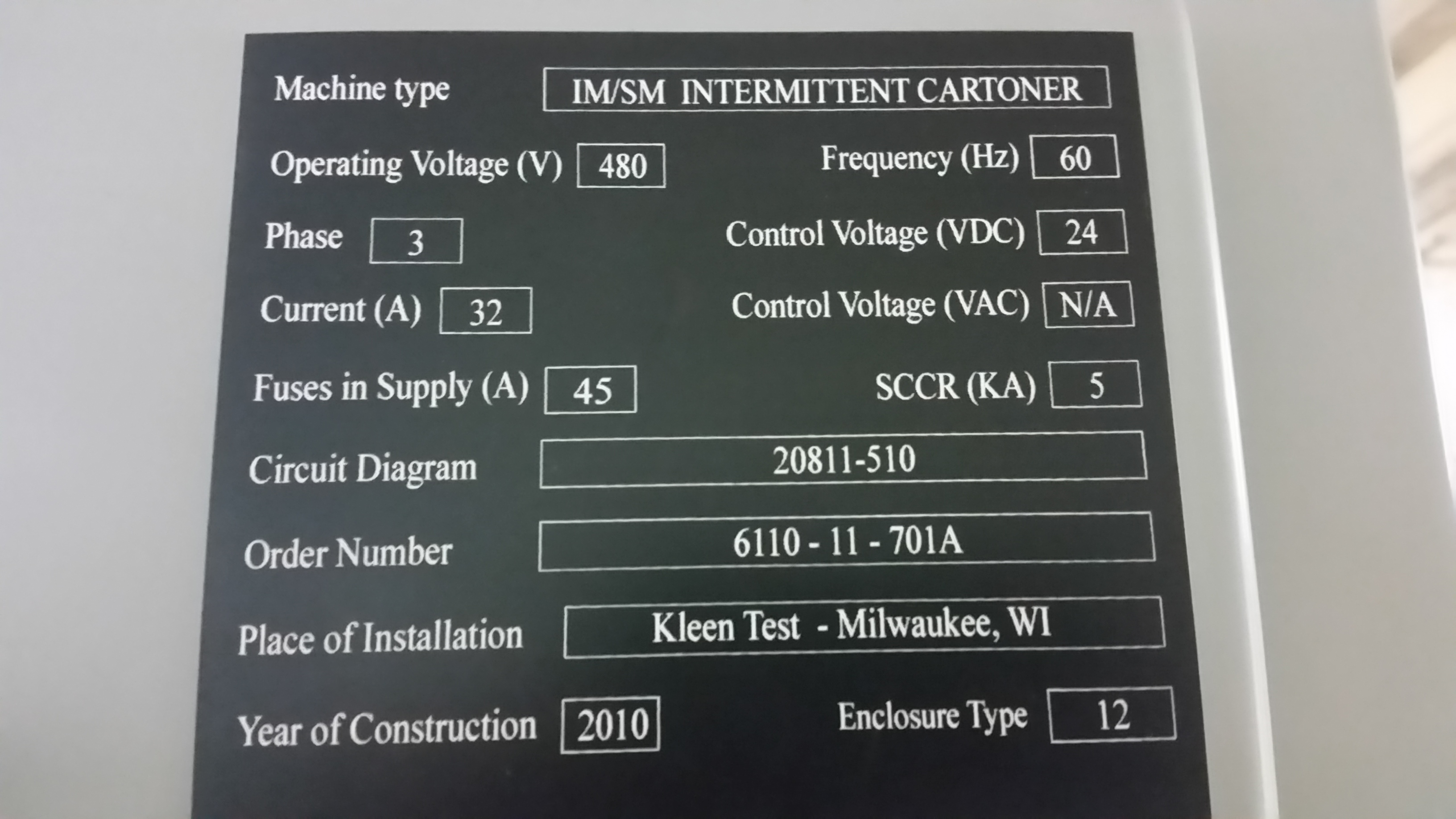 Lot 5 - KHS IM/SM INTERMITTENT CARTONER YEAR 2010 SN: 20812-510 with Mclean M520446G002,Compact Indoor Air