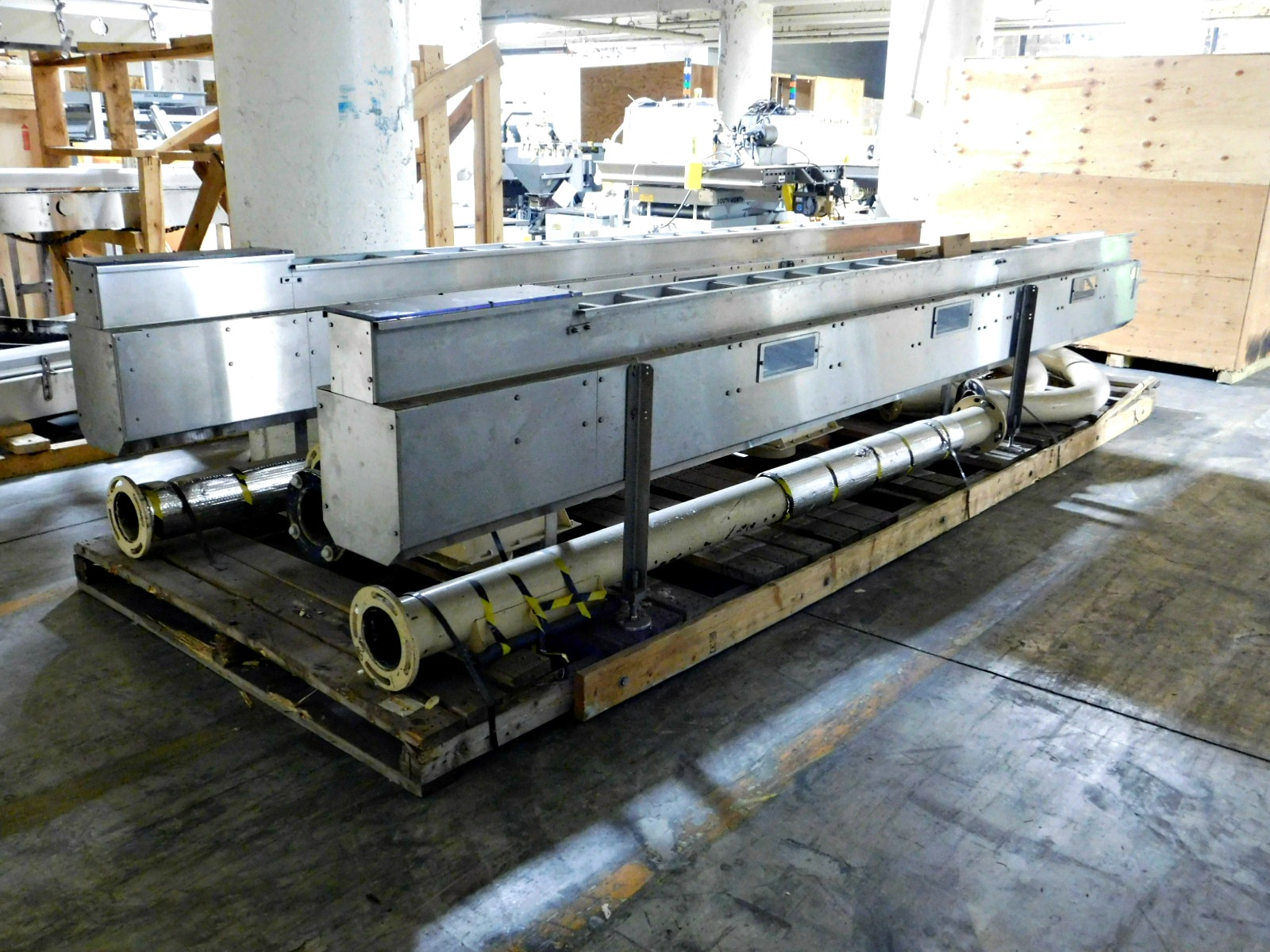 """Lot 61 - Stainless steel conveyor 17' 2"""" x 5"""" qty 2 & pipes :equipment located at Clark Logistic Services 