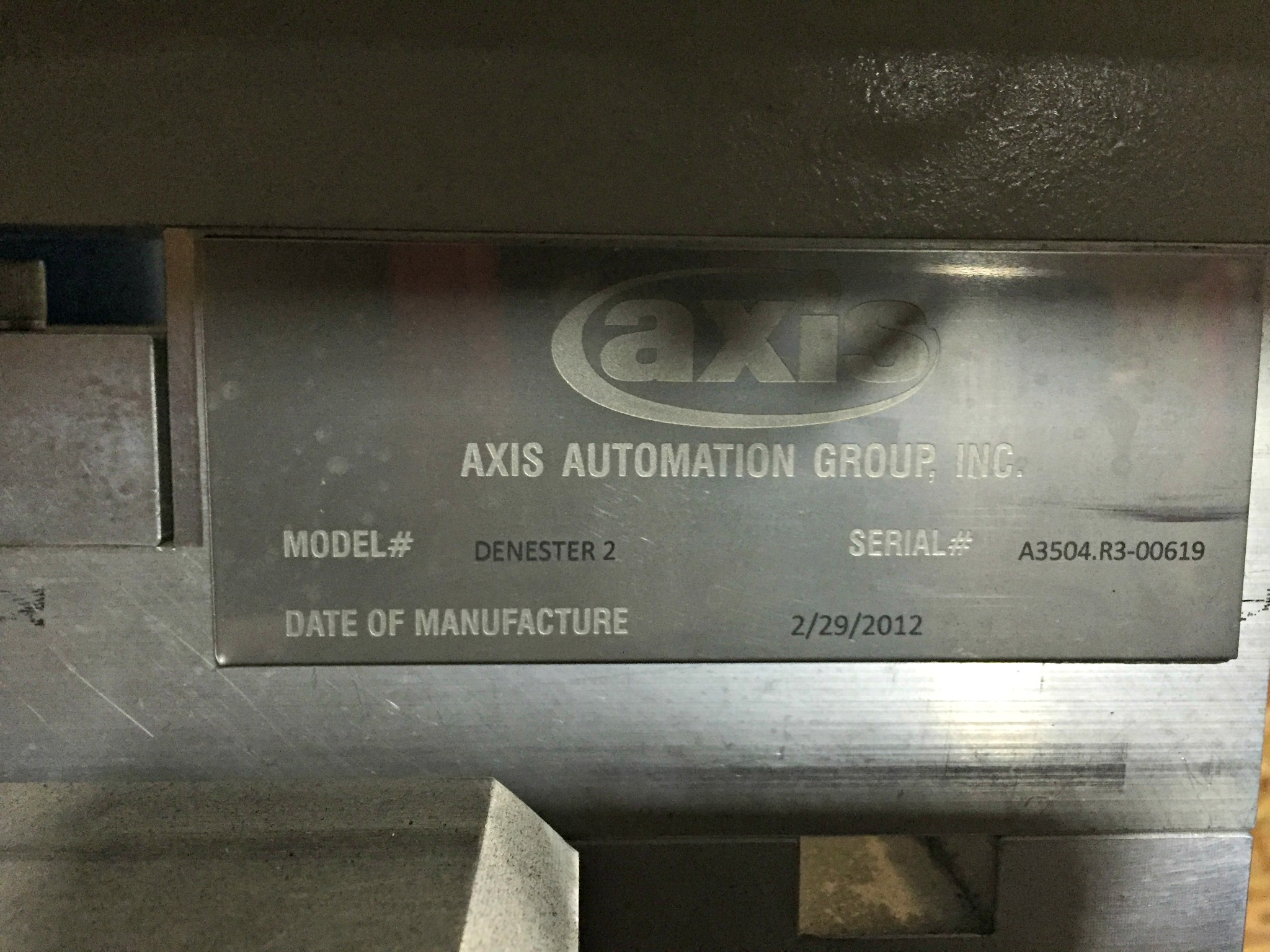 Lot 53 - Axis Automation Group Denester 2 , Cone Denester with a 3'X8' Donner Coneveyor,SN:A3504.R3-00619,