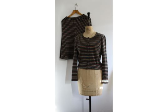 b4ab9af466 A vintage 1970s BIBA two-piece suit consisting of stripe culottes ...