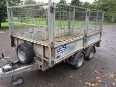 ifor williams LM105hd 3500KG rated plant trailer with mesh cage sides.