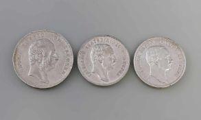 3 Silbermünzen Deutsches Reich Sachsen Friedrich August König V. Sachsen, 900er Silber, 5 Mark