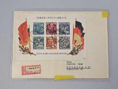 Briefbeleg DDR 1956 Block 13 als Einschreiben DDR 1956, Block 13 (60. Todestag von Friedrich Engels)