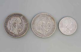 3 Silbermünzen Deutsches Reich Preussen 1876 Wilhelm Deutscher Kaiser König V. Preussen, dabei 2