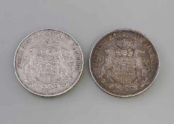 2 x 5 Mark Hamburg Deutsches Reich 1902/08 Freie und Hansestadt Hamburg, 900er Silber, je 27,7 g, J,