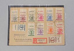 Briefbeleg Alliierte Besetzung 1946 West-Sachsen Satz Marken Volkssolidarität 1946 auf Einschreiben,