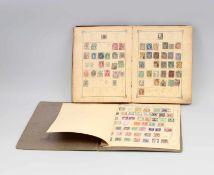"""2 Alte Briefmarkenalben aller Welt dabei """"Illustrirtes Briefmarken-Album"""" um 1900, teilweise mit"""