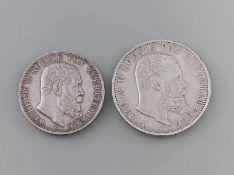 2 Silbermünzen Deutsches Reich Württemberg Wilhelm II Koenig Von Wuerttemberg, 900er Silber, F, 3