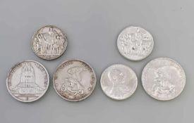 """6 Silbermünzen Deutsches Reich Preussen 1913 900er Silber, dabei 2 x 2 Mark """"Der König rief.."""", 2"""