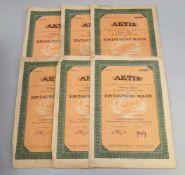 Konvolut 6 Aktien Allgäuer Molkerei-Industrie 1922 Allgäuer Molkerei-Industrie Ottmar Herz