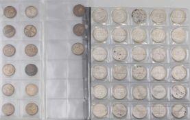 Konvolut Silber-Münzen Deutsches Reich 30 x 5 Reichsmark 1934/36 (900er Silber) + 15 x 2