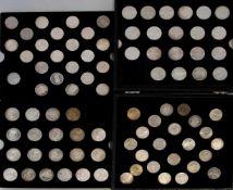 Sammelbox Gedenkmünzen BRD dabei 40 x 10 DM und 46 x 5 DM, Zustand ss-vz