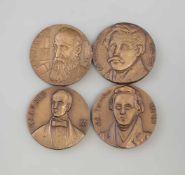 4 Bronze-Medaillen russische Dichter u. Denker dabei Aleksandr Nikolajewitsch Afanassjew (1826-