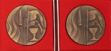 "2 Bronze-Medaillen Husitské muzeum 1878-1978 im Etui Bratka, Tschechien ""Muzeum Husitského"