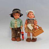 Paar Puppen Hummel am Hals gemarkt Hummel, Goebel, Vinyl, Modell: Karl Wagner, vollständig