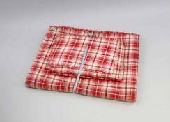 Bauern-Bettwäsche alt, rot karierte Baumwolle, 3 Kissen- und 1 Deckenbezug, Alters- und