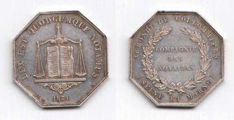 """8-eckige Silbermedaille Compagnie Des Notaires 1831. Vs """"Arrondt De Coulommiers (Seine Et"""
