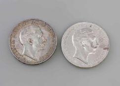 2 x 3 Mark Silbermünzen Deutsches Reich 1909/10 Wilhelm II Deutscher Kaiser König V. Preussen, A,