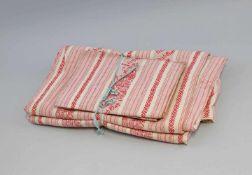 Bauern-Bettwäsche alt, rot gemusterte Baumwolle, 2 Kissen- und 1 Deckenbezug