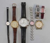 Konvolut Armband-Uhren 7 Stück, Damen- und Herrenarmbanduhren dabei Fossil, Automatik Eberhard &