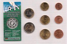 Euro-Kursmünzen-Satz Deutschland WM 2006. Euro Kursmünzen, 1 Cent bis 2 Euro (insg. 3,88 €) +