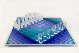 Schachspiel von Victor Vasarely (1906 Pécs - 1997 Paris) Um 1980, Brett aus beschichteter