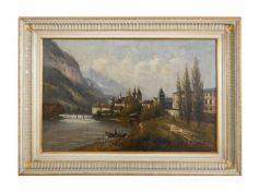Unbekannter Künstler (19. Jh.) Alpenlandschaft mit Dorfansicht und See, Öl auf Leinwand auf