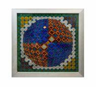 Abstraktes Spiegelmosaik Aus farbigem Glas und Spiegelstücken cm, 66,5 cm x 66,5 cm, einige Stücke