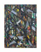 Unbekannter Künstler (20. Jh.) Paar abstrakte Arbeiten, Öl auf Platte, 58,5 cm x 42,5 cm und 42,6 cm