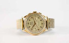 Britix Herrenarmbanduhr, Chronograph, Handaufzug, Gehäuse 750 Gelbgold, Durchmesser 34 mm, Armband