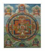 Paar Thangkas Tibet, frühes 20. Jh., Gouache auf feinem Leinen, mit Brokatstoff umrahmt, 97 cm x