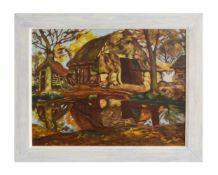 Charles Willem G. Bakker (1876 - 1957, Niederlande) Bauernhaus, Öl auf Leinwand, 47,5 cm x 38,5