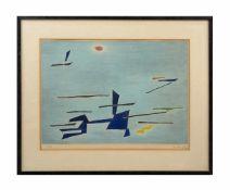 Gustave Signer (1889 - 1986) Abstrakte Komposition auf hellblauem Grund, Farblithografie auf Bütten,